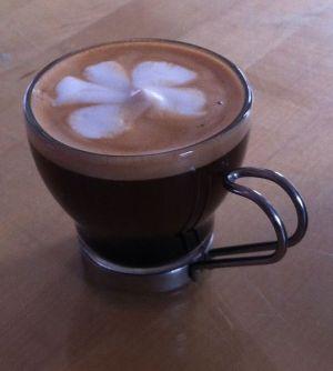 A caffè macchiato. Double shot of espresso with a little foam by Jimpaz - WikiCommons