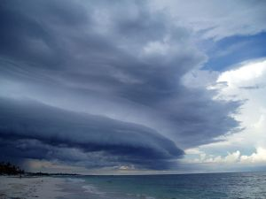 Cloud over the Yucatan east coast (Mexico) by Sensenmann - WikiCommons