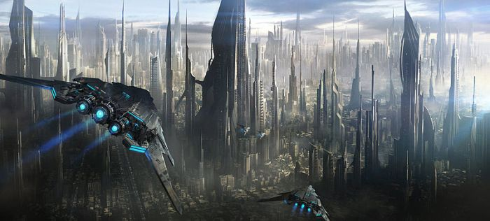 Depiction of a futuristic city by Cronus Caelestis